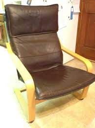 Leather Poang Chair Find More Ikea Poäng Chair With Brown Leather Cushion For Sale At