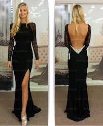 long sleeve prom dress black prom dress backless prom dress