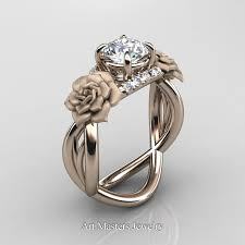 weding rings nature inspired 14k gold 1 0 ct white sapphire diamond