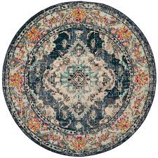 light blue round area rug safavieh monaco navy light blue 7 ft x 7 ft round area rug mnc243n