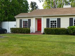 taupe house black shutters red door for the home pinterest