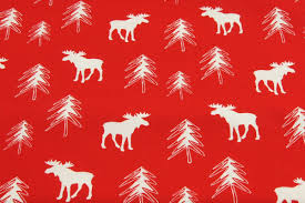 cotton white moose reindeer christmas tree on red background