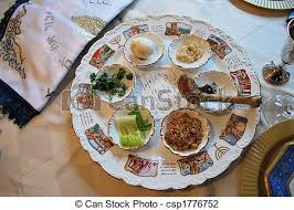 traditional seder plate traditional passover seder plate in dining room stock photo