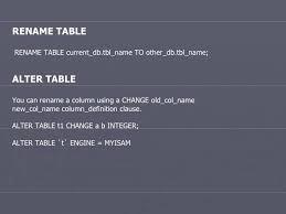 Change Table Name In Mysql Mysql Statments