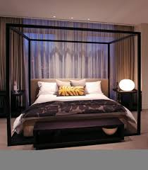 Metal Canopy Bed Frame Cream Leather Bed Frame With Black Polished Iron Canopy Combined