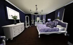 Dark Purple Walls White Picture Frame Dark Purple Bedroom White Wood Round Shaped