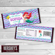 little mermaid candy bar wrappers mermaid ariel chocolate label