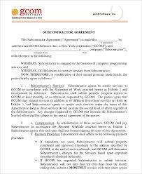 subcontractor agreement 11 free word pdf documents downlaod