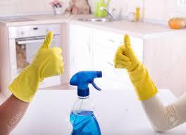 nettoyage cuisine gros plan de deux travailleurs gestes signe ok après un bon travail