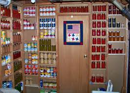 shelves built into exposed wall studs for storage of canned goods