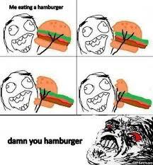 Burger Memes - comic eating a burger fail