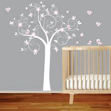 Nursery Owl Wall Decals White Swirl Tree With Pink Flowers Birds Nursery Vinyl Wall Decal