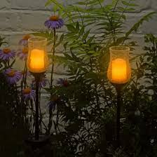 solar flickering candle jar garden stake lights