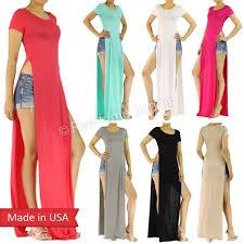 Celebrity Double Side Slits Split Long T Shirt Maxi Dress Regular