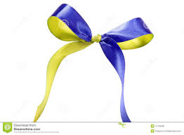 blue and yellow ribbon blue yellow fabric ribbon and bow isolated on white background