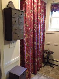new curtains and walls painted powell buff in master bath behind