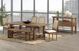 amazing rustic wooden dining table and chairs with bench above