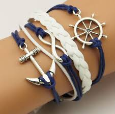 leather braided anchor bracelet images Vintage braided leather rudder anchor bracelet women 5 multi layer jpg