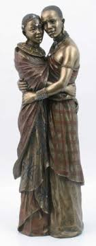black silver masai sitting figurine gift ornament