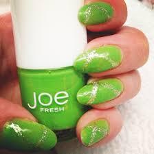 fun summer nails lime juice by joe fresh and some random glitter
