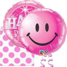 birthday balloons in a box pink smiley happy birthday helium foil balloons in a box