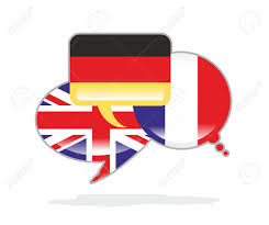Flag Of The Uk Three Speech Bubbles With The Flags Of Germany France And The