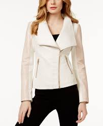 pink leather motorcycle jacket guess colorblocked faux leather jacket in white lyst
