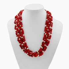 natural coral necklace images Natural red coral y white pearl necklace jpg