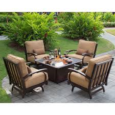 Costco Outdoor Furniture With Fire Pit by Madison 5 Piece Conversational Patio Seating With Fire Table