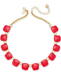 red collar necklace images Lyst kate spade new york gold tone red color block collar jpeg