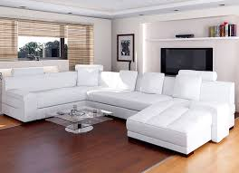 Popular White  The Best White Leather Sectional Living Room Ideas - White sofa living room decorating ideas