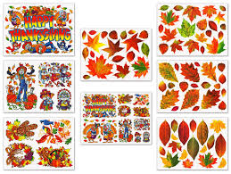 thanksgiving fall pictures thanksgiving and fall leaves window clings decals decorations kit