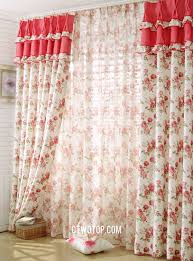 and pink romantic floral rustic country style curtains