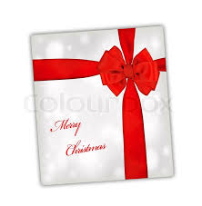 big present bow merry christmas greeting card wrapped with ribbon big silk