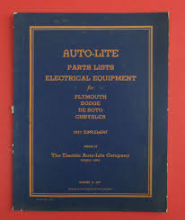 vintage auto lite parts list 1937 supplement for electrical