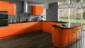 orange kitchen cabinets cool orange kitchen cabinets with gray backsplash and black