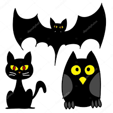 Halloween Owl Clipart by Vector Illustrations Halloween Set Of Three Bat Owl Cat