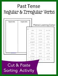 free past tense regular and irregular verb sort worksheets past