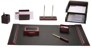 Desk Sets For Office D8020 Rosewood Leather 10 Desk Set