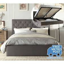 chester double fabric bed frame in grey w gas lift buy double