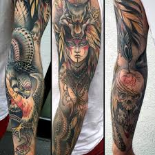 old style multicolored sleeve tattoo of tribal woman with