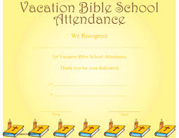 a printable certificate recognizing vacation bible