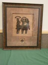 home interiors and gifts framed cowboy silhoutte western print vintage home interiors gifts nib