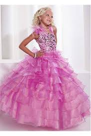 gown pink organza ruffle layered girls pageant prom dress flowers sash