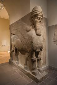 Alabaster Stone Carved Bull Home by Human Headed Winged Bull And Winged Lion Lamassu Work Of Art