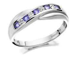 half eternity ring 9ct white gold diamond and tanzanite half eternity ring d7942