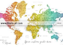 Printable World Map Personalized World Map Printable Colorful Gradient Watercolor