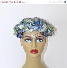 1950s headband 40 sale vintage 1950s blue floral fascinator hat 50s silk