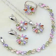zircon necklace sets images Multicolor 925 silver jewelry set mystic zircon jewelry sets for jpg