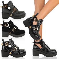 low cut biker boots womens cut out boots flat low heel strappy biker chelsea ankle